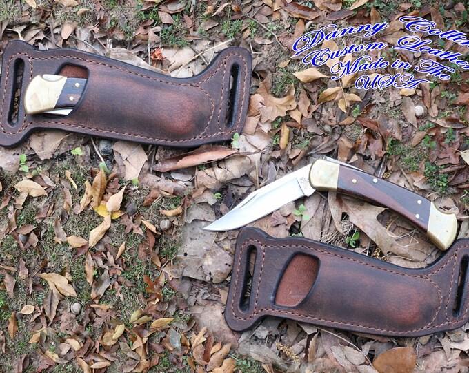 Buck 110 sheath, Buffalo leather Knife Sheath, Horizontal Knife Sheath to fit he Buck 110