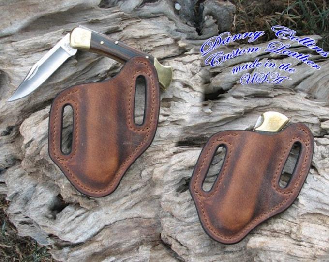 Buffalo Leather Knife Sheath/large folders like the Buck 110