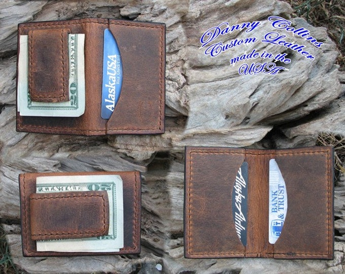 Buffalo Leather Money Clip with Magnetic Clip