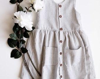 cd31e84b7f38 Linen dress - striped - toddler dress - button dress - simple dress - girl  dress - pocket dress