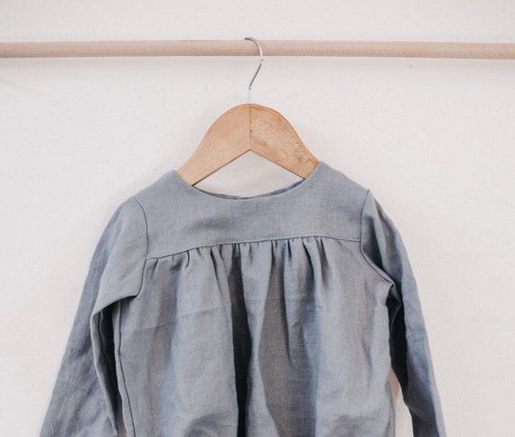 7c13713688 Linen dress dusty blue toddler dress button dress