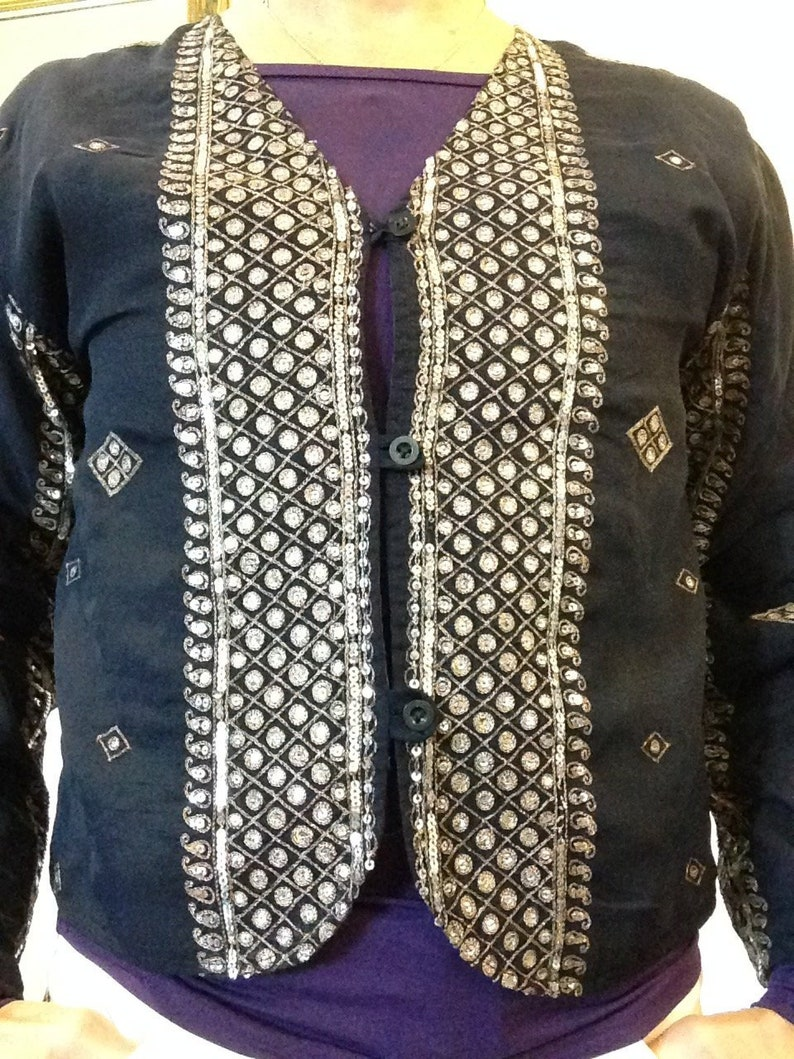 4eaa842fbf Indian Ethnic women's Sequin 60s70s Bolero Style Jacket | Etsy