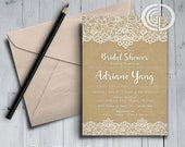 Lace with Rustic Background Bridal Shower Invite, Vintage, Rustic, Beautiful Lace, Elegant Invite, Bridal Bunch, Wedding Shower
