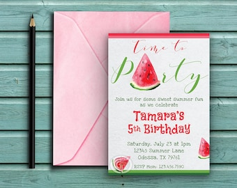 Watermelon Birthday Invite, Watermelon Slices, Time to Party, Summer Invite, Gender Neutral, Girl Boy Kids Birthday Invite,  Digital Invite