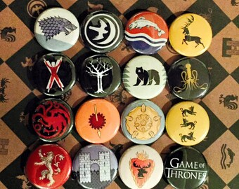 Game of Thrones House Sigil Buttons (19 Styles)