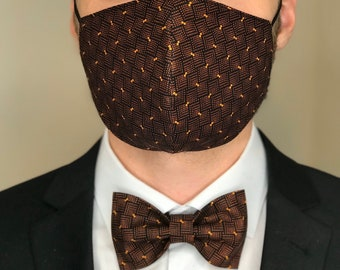 Bow Tie + Face Mask matching Set for Groom groomsmen Father of the Bride Office Manager double layer 100% cotton Blue Violet Red Black