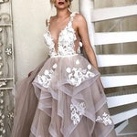 ONLY ONE Blush wedding dress, backless beach wedding dress sexy beige pink wedding gown, fluffy skirt 3d flowers lace romantic wedding dress