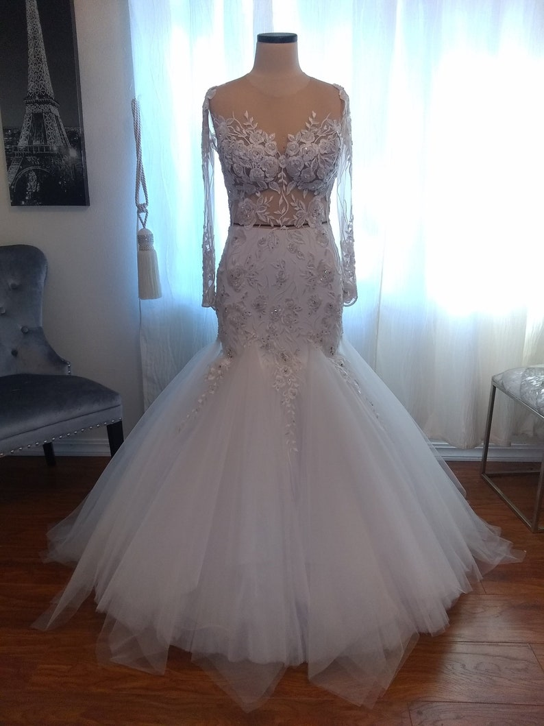 1d47a67f01a Mermaid lace wedding dress sexy backless sleeves transparent