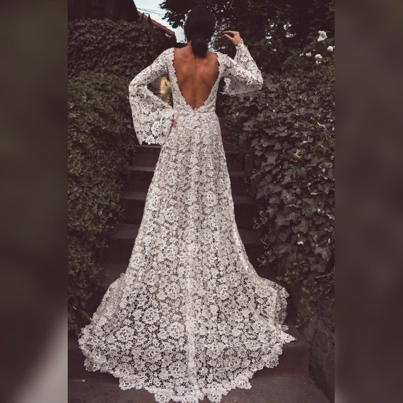 Bohemian wedding dress, Beach Lace wedding dress, backless bell sleeves Boho Vintage white Crochet roses lace wedding dress
