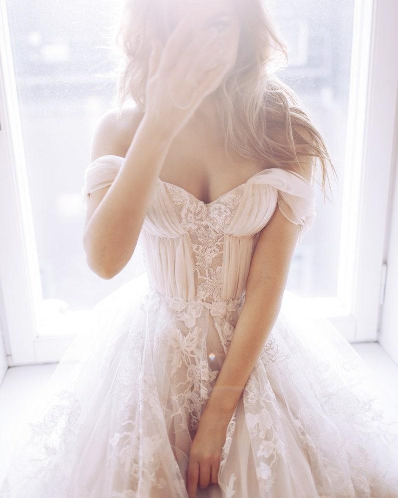 71144019c23c Wedding dress Blush nude beige peach Sexy wedding dress off | Etsy
