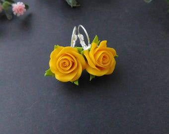 a4308acff1be Yellow rose earrings Yellow jewelry Roses Floral earrings Polymer clay jewelry  Flower gift Stylish earrings Summer jewelry Nature inspired