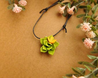 Green choker Succulent necklace Flower jewelry Plant Birthday gift|for|her Summer pendant Succulent Style jewelry Green Anniversary gift