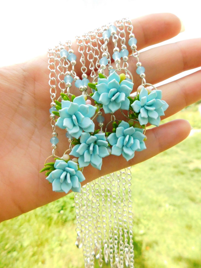 Succulent choker Bridesmaid gift for her Succulent jewelry Chain choker Bridesmaid necklace Blue jewelry Floral Womens jewelry gift