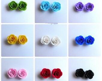 Roses Stud Earrings Rainbow Earrings Bridesmaid Gift Flower Earrings Roses Jewelry Colorful Earrings Polymer Jewelry Polymer Roses