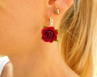 Burgundy roses earrings Marsala flowers Cranberry roses jewelry Red flower earrings Wine earrings Jewelry gift for girl Floral jewellery