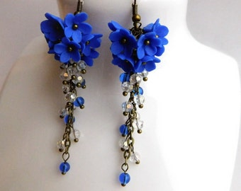Royal Blue Earrings Blue Cluster Earrings Bridesmaid Gift Christmas gift Flower Cluster Earrings Crystal Earrings Flower Jewelry