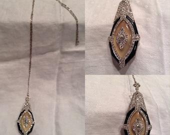 120254978 Tiffany & Co. Vintage 1920s Art Deco Ladies Pendant Pin Brooch Necklace  Platinum 14K 18K Gold Moonstone Black Onyx Diamonds French Hallmarks