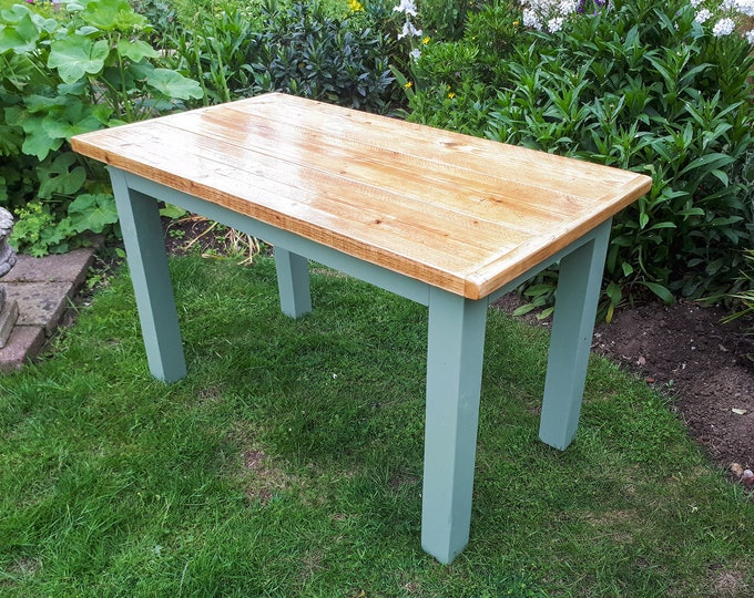 Featured listing image: Farmhouse Style Rustic Table made from Reclaimed Timber & Scaffold Boards With Painted Legs and Varnished Top