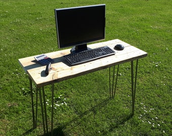Reclaimed Scaffold Board Rustic Industrial Look Desk with Hairpin Legs