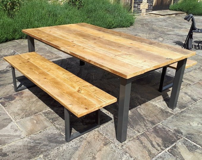 Featured listing image: Chunky Farmhouse Style Rustic Table made from Scaffold Boards & Steel Box Section Legs