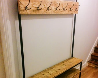 Steel & Reclaimed Scaffold Board Industrial Look Hallway Stand / Coat Stand / Shoe Rack