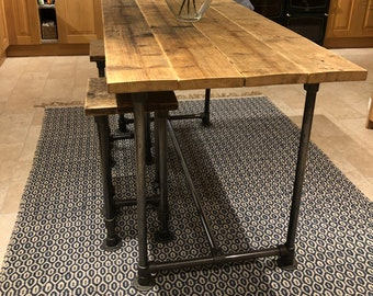 Scaffold Tube Rustic Bar Height Table made from Reclaimed Scaffold Boards & Dark Steel Tube