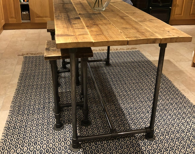Featured listing image: Scaffold Tube Rustic Bar Height Table made from Reclaimed Scaffold Boards & Dark Steel Tube