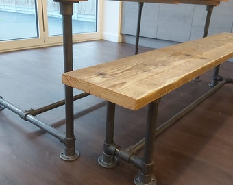 Reclaimed Rustic Scaffold Board & Tube Industrial Look Bench