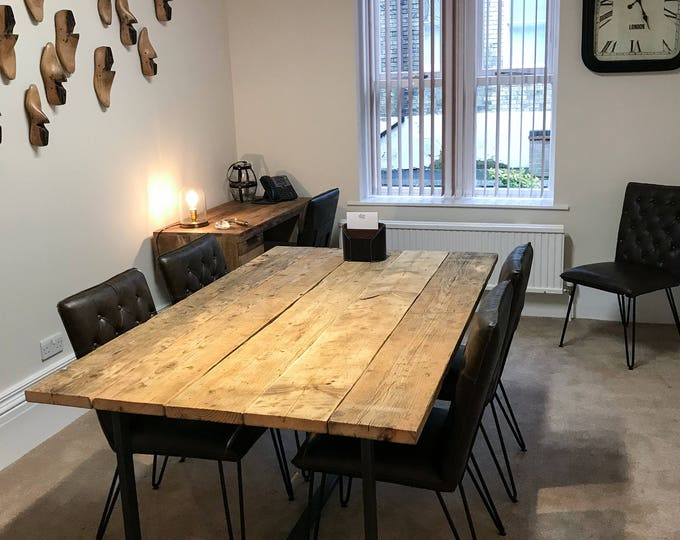 Featured listing image: Meeting Room Rustic Table made from Scaffold Boards & Steel Box Section Legs