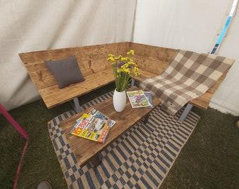 180x180cm Scaffold Board & Steel Corner Bench / Sofa 35cm Seat Height