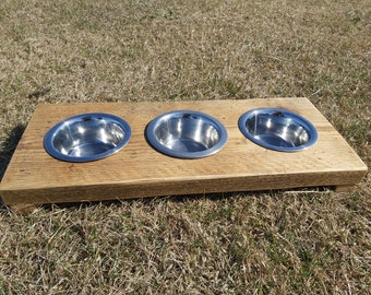 Rustic Dog / Cat Pet Feeding Station / Bowl Holder Made From Reclaimed Scaffold Boards