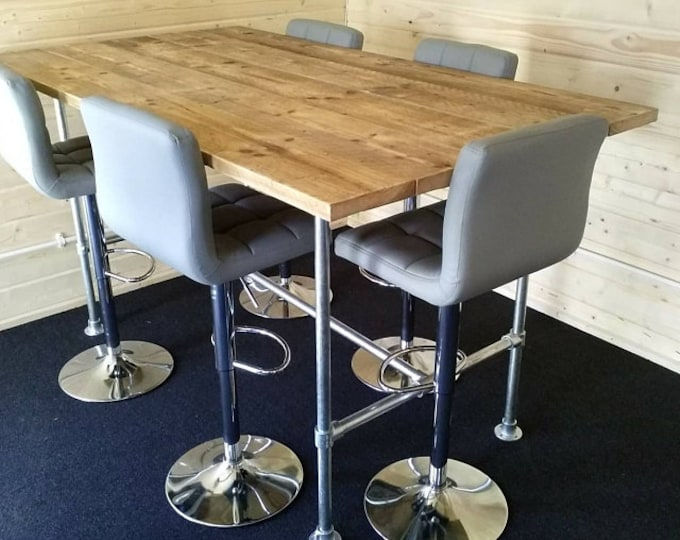Featured listing image: Scaffold Tube Rustic Bar Height Table made from Reclaimed Scaffold Boards & Steel Tube