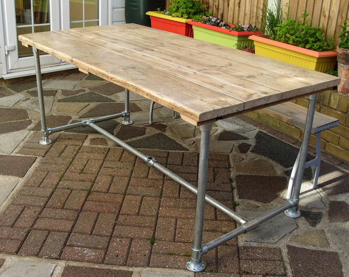 Scaffold Tube Rustic Table made from Reclaimed Scaffold Boards & Steel Tube