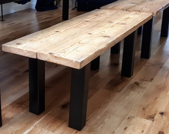 Reclaimed Scaffold Board Rustic Wood Bench with Chunky Steel Box Section Legs