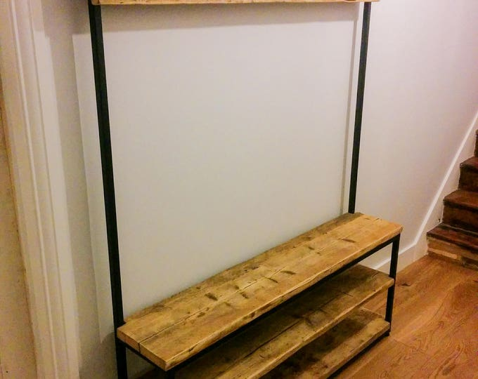 Steel & Reclaimed Scaffold Board Industrial Look Hallway Stand / Coat Stand / Shoe Rack