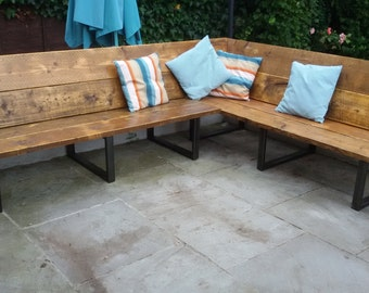 Reclaimed Scaffold Board & Steel Corner Bench / Sofa 43cm Seat Height