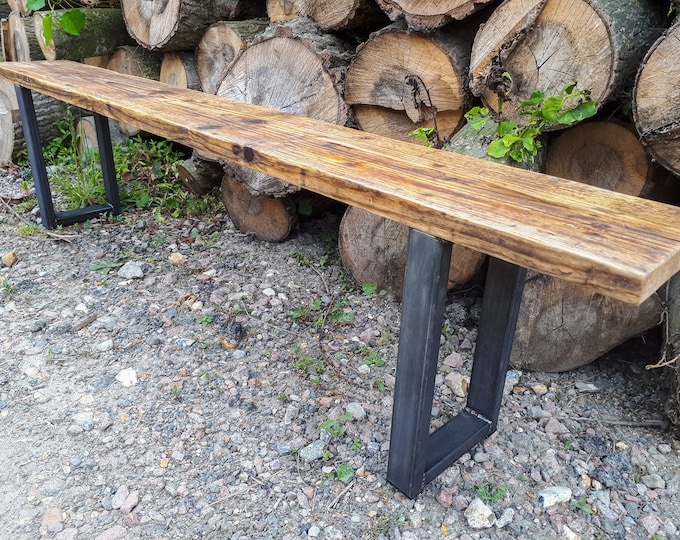Reclaimed Scaffold Board Rustic Simple Wood Bench with Steel Box Section Legs