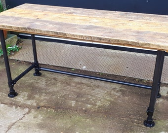 Scaffold Tube Rustic Table \ Desk made from Reclaimed Scaffold Boards & Dark Steel Tube