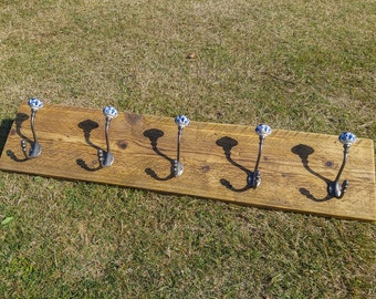 Industrial Style Reclaimed Scaffold Board Coat Hook / Rack with Ceramic Pumpkin Hooks