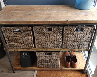 Steel & Reclaimed Scaffold Board Industrial Look Cube Basket Hallway / Playroom Storage