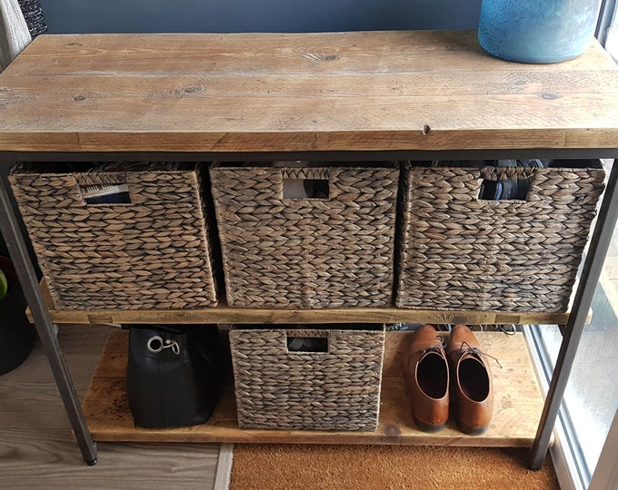 Featured listing image: Steel & Reclaimed Scaffold Board Industrial Look Cube Basket Hallway / Playroom Storage