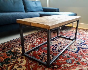 Coffee Table with Square Steel Box Section Legs & Rustic Reclaimed Scaffold Board Top