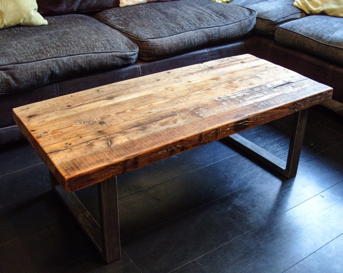 Coffee Table with Steel Box Section Legs & Rustic Reclaimed Scaffold Board Top