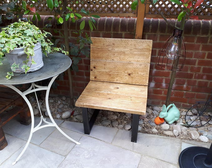 Reclaimed Rustic Scaffold Board & Steel Chairs