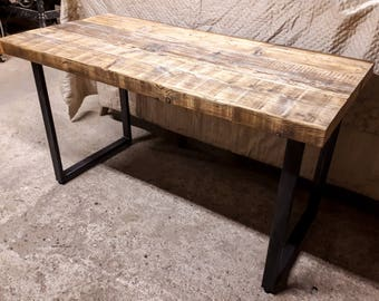 Steel & Reclaimed Scaffold Board Rustic Industrial Look Chunky Desk