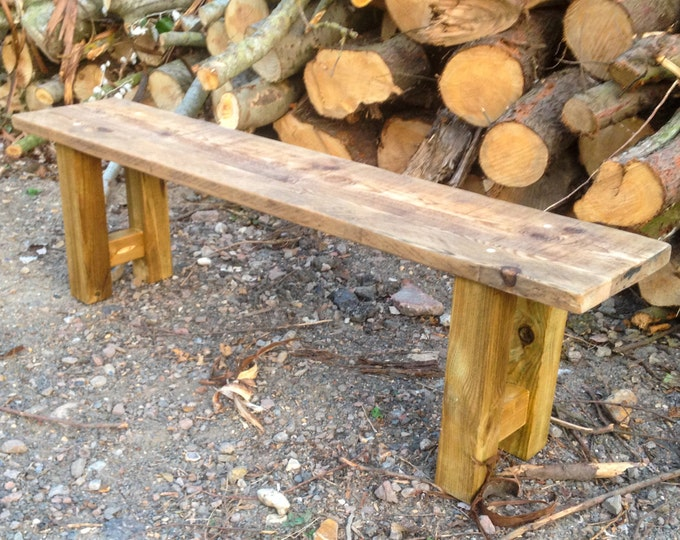 Chunky Farmhouse Style Rustic Bench made from Reclaimed Timber & Scaffold Boards