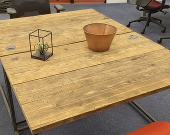 Steel & Reclaimed Scaffold Board Rustic Industrial Look Desk 120x80cm