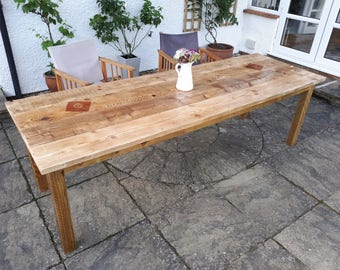Chunky Farmhouse Style Rustic Table made from Reclaimed Timber & Scaffold Boards