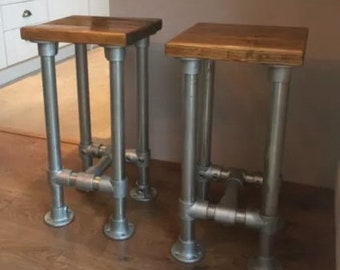 Reclaimed Rustic Scaffold Board & Tube Industrial Look Stool \ Bar Stool