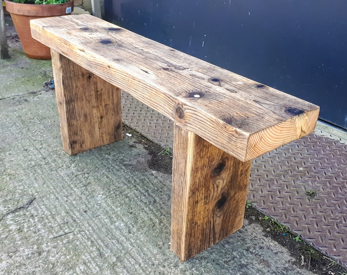 Featured listing image: Reclaimed Scaffold Board Rustic Chunky Wood Bench